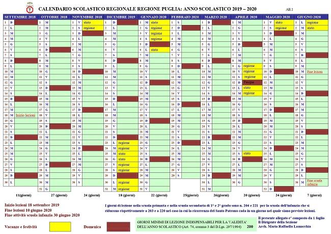 Miur Calendario Scolastico.Calendario Scolastico Della Regione Puglia Per L Anno 2019